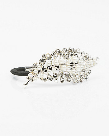 Jewel Embellished Leaf Hair Tie