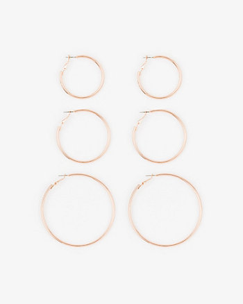 Set of Three Hoop Earrings