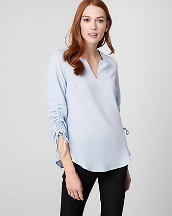Shirred Crêpe de Chine Blouse