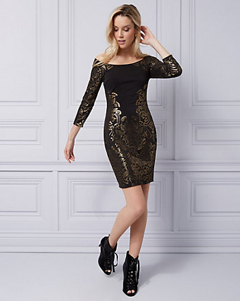 Foil Knit Boat Neck Cocktail Dress