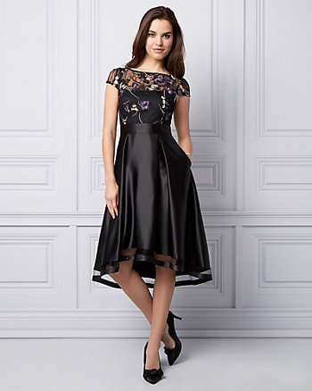 Embroidered High-Low Cocktail Dress