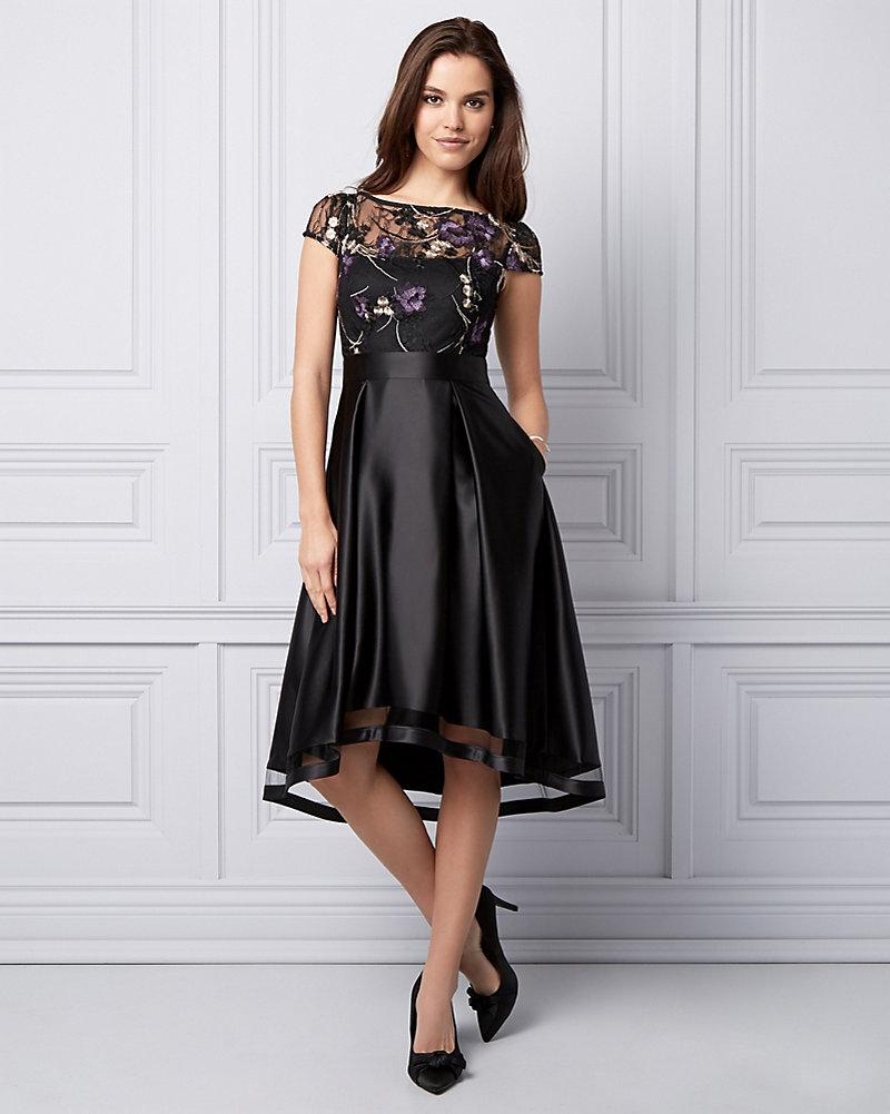 da227a6ebac4 Embroidered High-Low Cocktail Dress