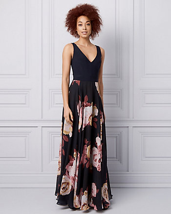 Floral Print Knit & Chiffon V-Neck Gown