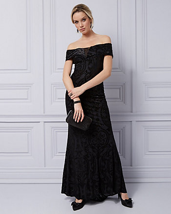 Burnout Velvet & Foil Off-the-Shoulder Gown