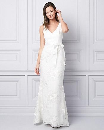 3D Floral V-Neck Gown