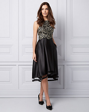 Embroidered Lace & Satin Cocktail Dress