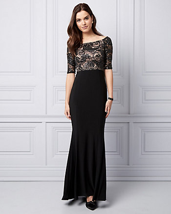 Sequin & Lace Off-the-Shoulder Gown