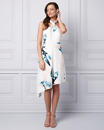 Leaf Print Crêpe de Chine Halter Dress