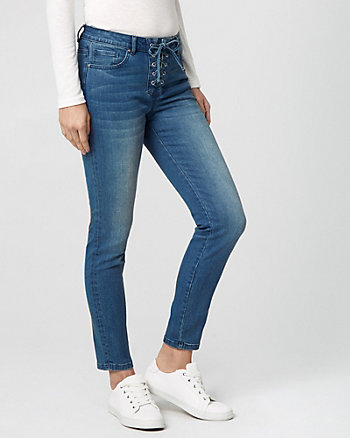 Stretch Denim Lace-Up Skinny Pant