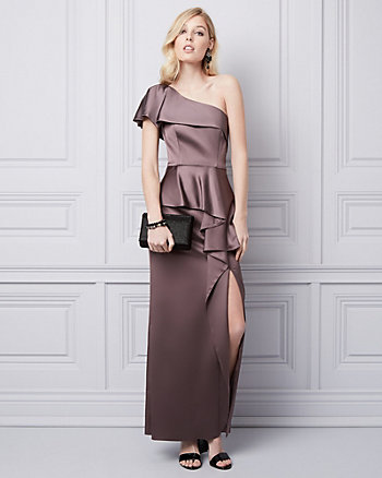Satin One Shoulder Gown