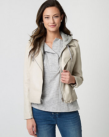 Faux Leather Asymmetrical Jacket