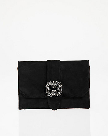 Brooch Embellished Flapover Clutch
