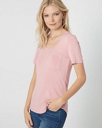 T-shirt à encolure dégagée en jersey