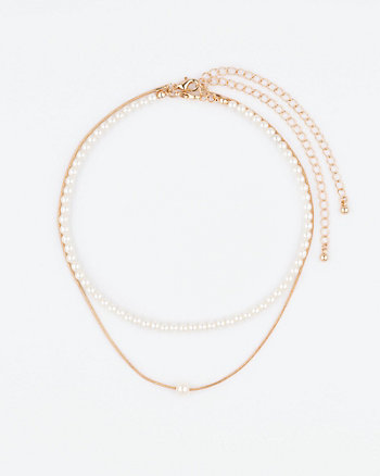 Pearl-Like Choker & Pendant Necklace