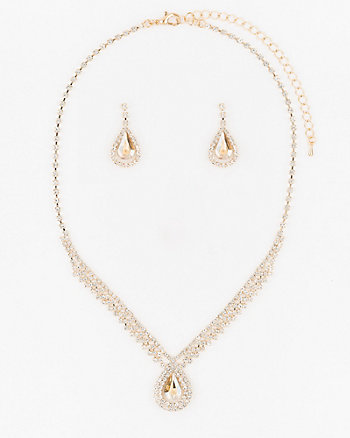 Gem Earrings & Necklace Set
