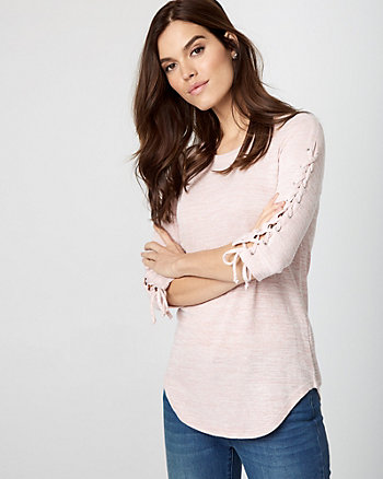 Knit Lace-Up Sleeve Top