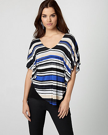 Stripe Jersey V-Neck Poncho Top