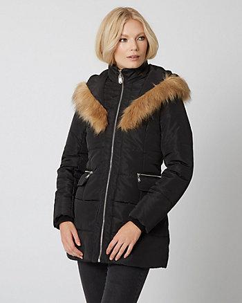 Manteau à capuchon en fourrure synthétique