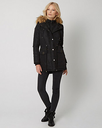 Anorak Puffer Coat with Faux Fur Hood