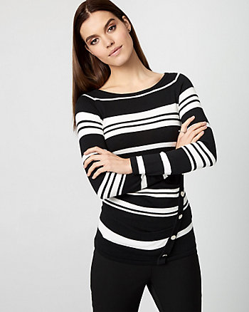 Stripe Cotton Blend Boat Neck Sweater