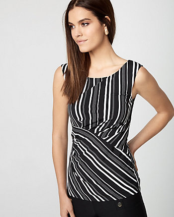 Stripe Knit Boat Neck Sleeveless Top