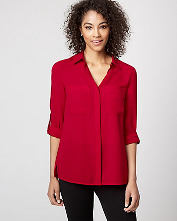 Crêpe de Chine Button-Front Blouse