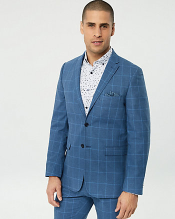 Windowpane Cotton Blend Blazer