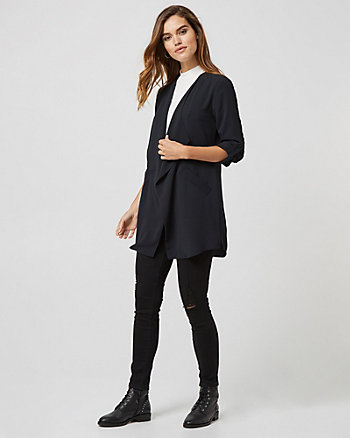 Crêpe de Chine Open Front Robe Jacket