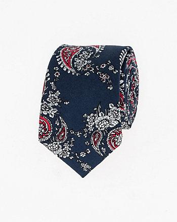 Paisley Print Cotton Skinny Tie