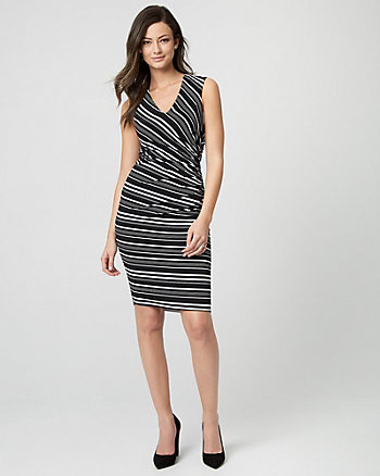 Stripe Knit V-Neck Sheath Dress