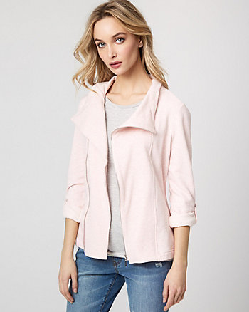 Cotton Blend Zip-Front Blazer