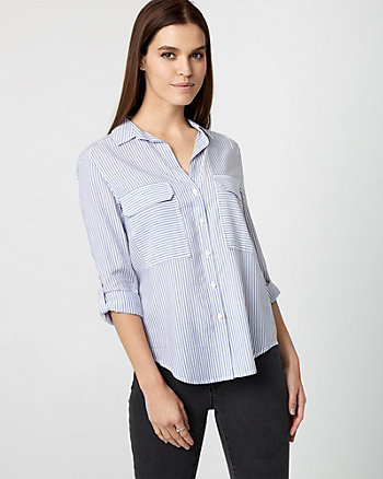 Stripe Button-Front Blouse