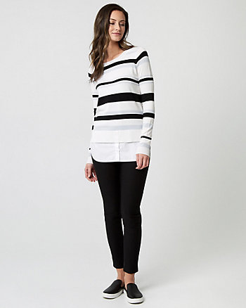Stripe Knit & Woven 2-in-1 Sweater
