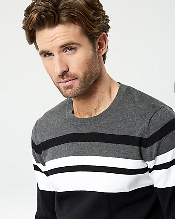 Stripe Cotton Blend Crew Neck Sweater