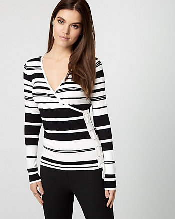 Stripe Viscose Blend Lace-Up Sweater