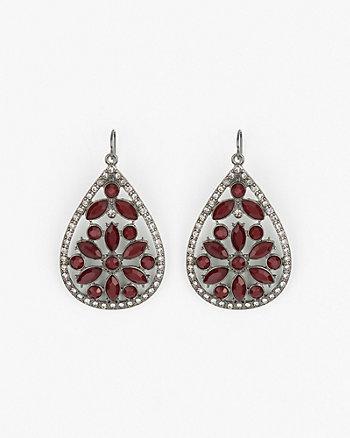 Floral Gem Drop Earrings