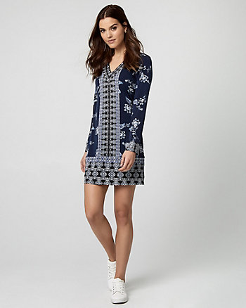 Floral Print Knit Tunic Dress
