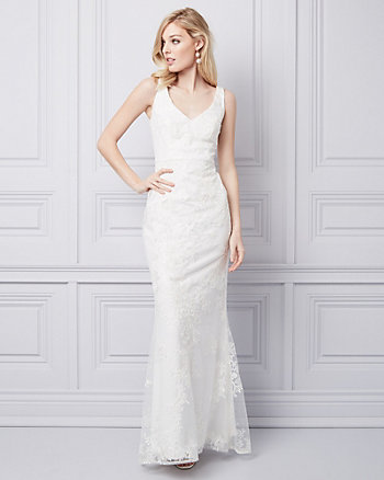 Beaded & Embroidered Mesh V-Neck Gown