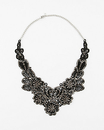 Beaded Lace Bib Necklace