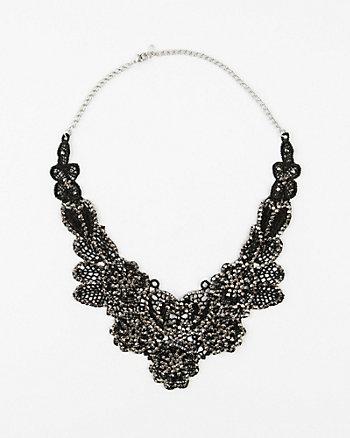 Beaded Lace Bib Necklace