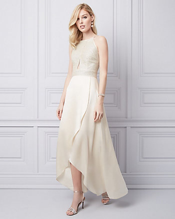 Embroidered Silk High-Low Gown