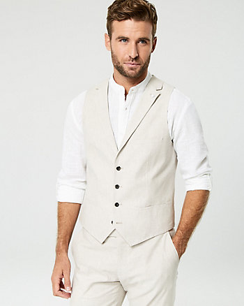 Linen Blend Contemporary Fit Vest