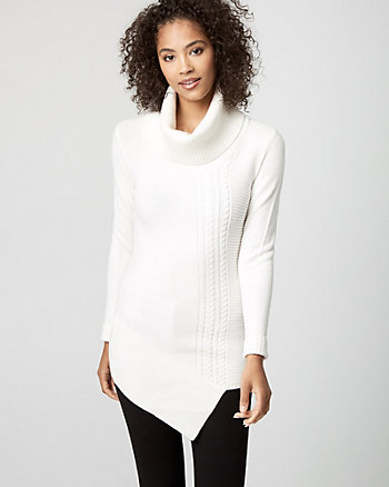 Brushed Viscose Asymmetrical Tunic Sweater