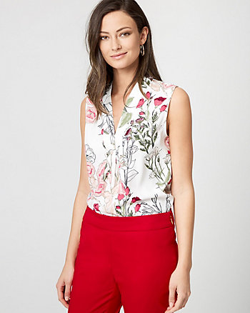 Floral Print Shiny Twill Built-Up Neck Top