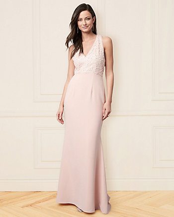 Sequin & Twill V-Neck Gown