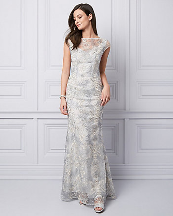 Embroidered Mesh Crew Neck Gown