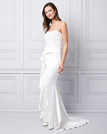 Embroidered Satin Strapless Gown