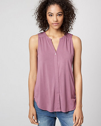 Jersey Knit Split Neck Sleeveless Blouse