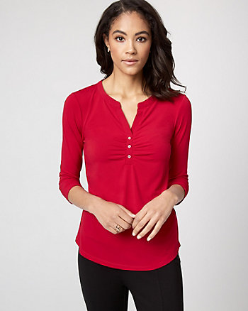 Knit Henley Neck Top