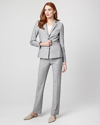 Birdseye Viscose Blend Notch Collar Blazer
